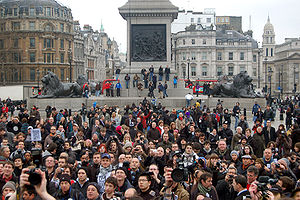 Terrorism Act 2000 - Protesters demonstrating against police harassment of photographers under Section 44. Trafalgar Square, London, 23 January 2010