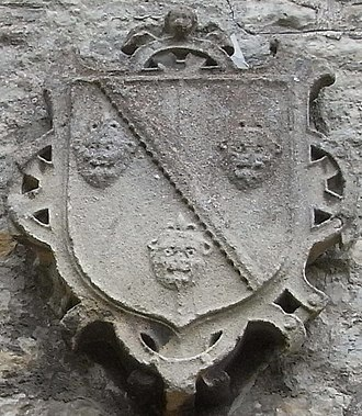 Denys family of Siston - Arms of Sir Maurice Denys (1516–1563) sculpted on south wing of Siston Court