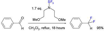 Deoxofluoridering met bis(2-methoxyethyl)aminozwaveltrifluoride.