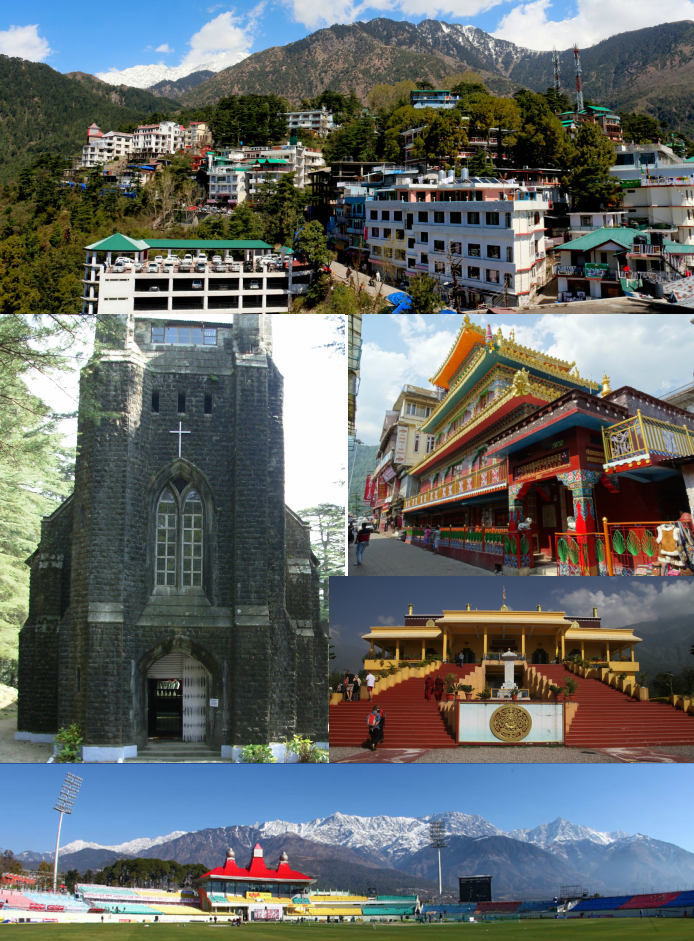 Clockwise from top: Skyline of Dharamsala, Main Street Temple - McLeod Ganj, Gyuto Karmapa, Himachal Pradesh Cricket Association Stadium and St. John church