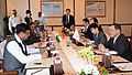 Dharmendra Pradhan and the Minister of Economy, Trade & Industry, Japan, Mr. Yoichi Miyazawa, at a bilateral meeting, in New Delhi on April 30, 2015.jpg