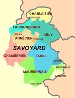 Carte des dialectes locaux en Savoie et en Haute-Savoie