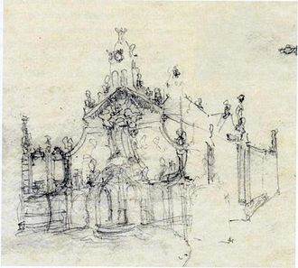 Banner of Misericordia - Gaudi sketch for the reform of the Sanctuary of Mercy. . (Museu Comarcal de Reus)