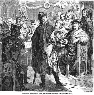 Treaty of Stralsund (1370) - Danes and Hanseatic League debate in Stralsund, 1370
