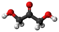 Ball-and-stick model of the dihydroxyacetone molecule