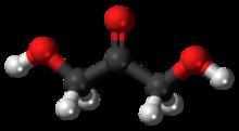 Ball-and-stick model of the dihydroxyacetone molecule