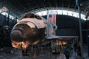 Space Shuttle retirement - Space Shuttle Discovery on display at the Udvar-Hazy Center for restorations
