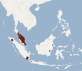 Distribution of Chironax melanocephalus.png