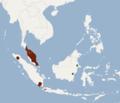 Distribution of Chironax melanocephalus.png