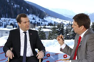 Dmitry Medvedev's interview with Bloomberg at the World Economic Forum 2013 (2013-01-23) 01.jpeg