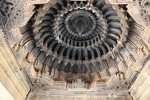 Veera Narayana Temple, Belavadi - Domical bay ceiling art in outer mantapa of the Veeranarayana temple at Belavadi