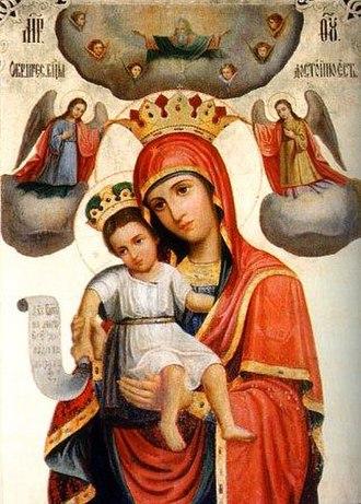 Axion Estin - Russian icon of the Theotokos, Dostóino yesť (Axion Estin), 19th century.