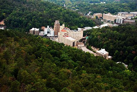 Downtown Hot Springs, as seen from mountain overlook Downtown Hot Springs, Arkansas (aerial).jpg