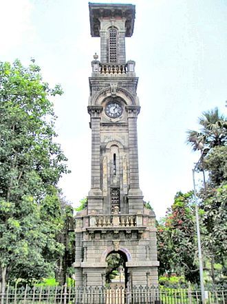 Dr. Bhau Daji Lad Museum -  A clock tower is there in the entrance of the 'Veer Mata Jijabai Bhonsle Udyan'