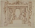 Drawing for a Memorial Tablet- Two Winged Children Holding an Empty Oval in a Frame with Gryphons MET 49.19.57.jpg