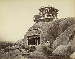 Olakkannesvara Temple - Durga temple or Olakkanneshvara Temple above the Mahishasuramardhhini Cave temple, Mahabalipuram.