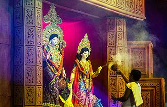 Hinduism in Bangladesh - Aroti, Durgapuja, Kolabagan puja Field, Dhaka, Bangladesh