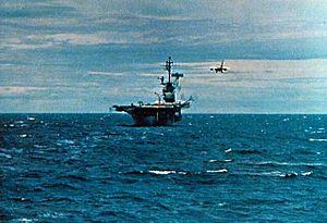EKA-3B VAQ-130 approaching USS Ticonderoga (CVA-14) off Vietnam 1969.jpg