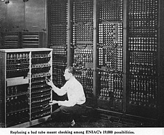 Invention of the integrated circuit - Changing vacuum tubes in the computer ENIAC. By the 1940s, some computational devices reached the level at which the losses from failures and downtime outweighed the economic benefits.