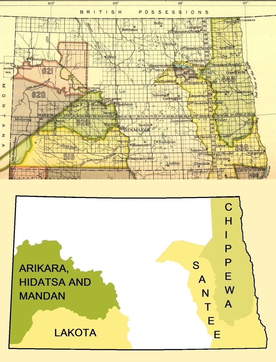 Early Indian treaty territories, North Dakota. Map and overview