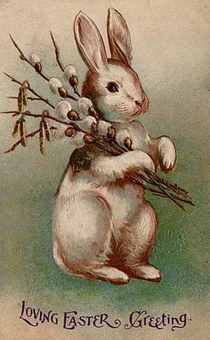 Ēostre - An Easter postcard from 1907 depicting a rabbit