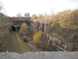 Wapping Tunnel - Eastern portal in the Cavendish Cutting. The tunnel is the middle portal of three. The portal to the right is obscured by undergrowth.