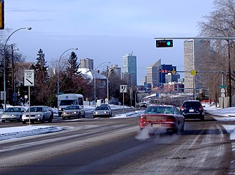 Transportation in Edmonton - Connors Road facing north as it goes towards downtown.