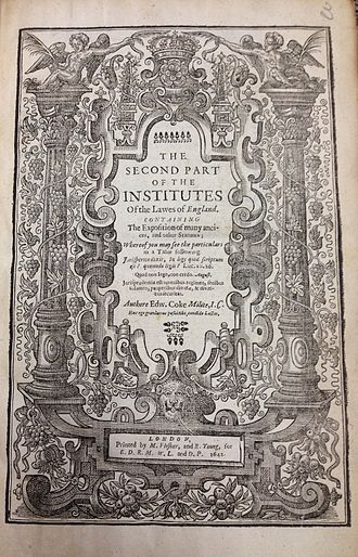 Institutes of the Lawes of England - Second Part of the Institutes of the Lawes of England (1st ed., 1642, title page)