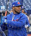 Edwin Encarnacion takes batting practice before the AL Wild Card Game. (30067853721).jpg