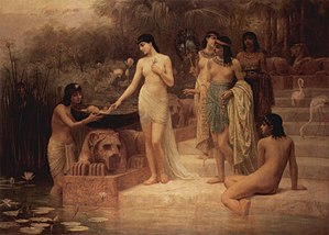 Shemot (parsha) - Pharaoh's daughter finds Moses in the Nile (1886 painting by Edwin Long)