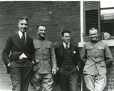 Eisenhower (far right) with three friends (William Stuhler, Major Brett, and Paul V. Robinson) in 1919, four years after graduating from West Point Eisenhower transcontinental military convoy.jpg