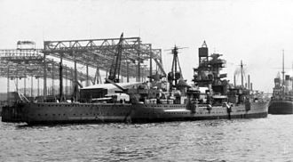 German cruiser Admiral Hipper - Admiral Hipper during fitting-out. Hamburg, 1937.