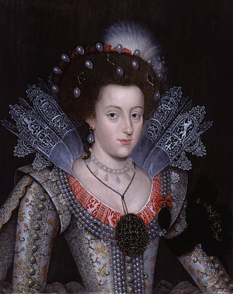 Reticella - Princess Elizabeth Stuart, later Queen of Bohemia, wearing a reticella collar worked with the English royal coat of arms, unknown artist, 1613, National Portrait Gallery, London.
