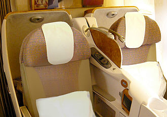 Business class - Emirates business-class lie-flat seats on the Boeing 777-300ER
