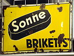 Enamel advertising sign, Sonne Briketts.JPG