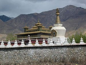 Samye - Image: Entering the impressive Samye Monastery through its protective wall