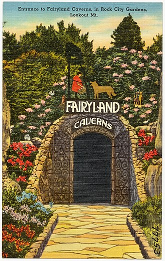 Lookout Mountain - 1940s postcard for Fairyland Caverns, a cave which displays fairy-tale creatures and a castle