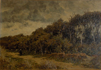 """Euphrosine Beernaert - View of a forest with walkers"""""""