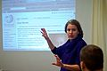 Evelin presenting at Wikimedia presentation.jpg