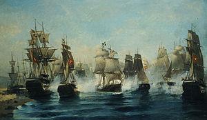 """Greek brig Aris - The oil painting """"The sortie of Aris"""", by Konstantinos Volanakis"""