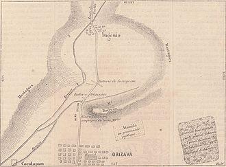Battle of Cerro del Borrego - Image: Expédition du Mexique. — Plan du combat de Borrego