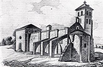 Iglesia de Santa María del Temple (Ceinos de Campos) - Exterior of the Iglesia de Santa María del Temple published in the old Seminario Pintoresco Español.