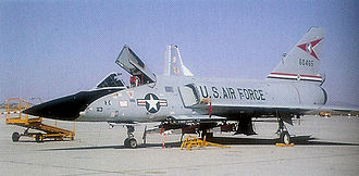 George Air Force Base - Convair F-106A Delta Dart AF Serial No. 56-0465 of the 329 FIS. To AMARC as FN0045 on April 3, 1984.  Converted to QF-106 (AD149) Full Scale Aerial Target (FSAT). Shot down by AIM-120 November 9, 1992.