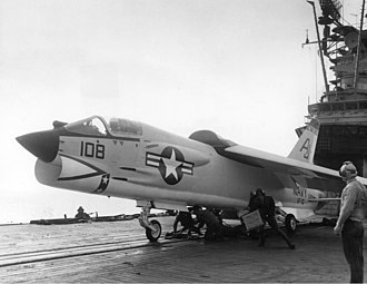 VF-13 (1948-1969) - Image: F 8D making 46000th launch from USS Shangri La (CVA 38)