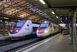 TGV Lyria - A TGV Lyria POS train in Lausanne along side a RABe 503 EC35