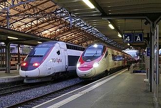 TGV Lyria - A TGV Lyria POS train in Lausanne along side a RABe 503 EC35