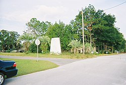 The faded sign that used greet residents of and visitors to Hill 'n Dale, Florida