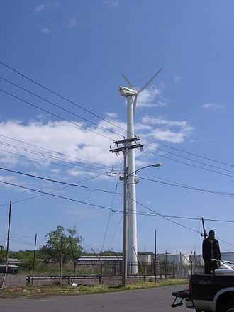 Wind power in Connecticut - Wind turbine alongside Pearl Harbor Bridge in New Haven