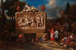 Fantasy landscape with Saint Carlo Borromeo