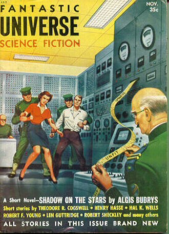 "Algis Budrys - Budrys's novelette ""Shadow on the Stars"" was cover-featured on the November 1954 issue of Fantastic Universe."